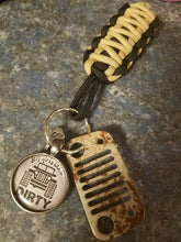 Jeep Grill Key Fob with powder coated grill in Gobi tan with mud & dirty jeep girl tag with jeep wave charm