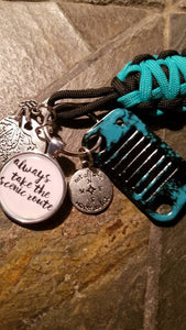 """Always take the Scenic Route"" Jeep key fob"