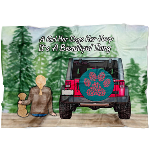 A Girl Her Dogs Her Jeep It's A Beautiful Thing, A Perfect Blanket For Jeep Fans