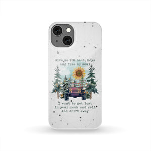 """Give Me The Beat, Boys & Free My Soul, Hippie Jeep Girl Quote"" Phone Case"