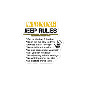 """Jeep Rules"" Vinyl Sticker"