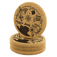 """Jeep Themed"" ""Cork Coaster (4pc/set)"