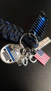 Thin Blue Line Edition Jeep Grill Key Fob with powder coated grill
