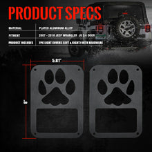 2X Black Rear Tail Light Cover Guard Pet Claw Bear Paw Print for 07-18 Wrangler