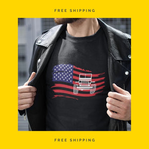 "Jeep T-Shirt - ""Jeep In USA Flag"""