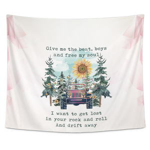 """Give Me The Beat Boys & Free My Soul Hippie Jeep Girl Quote"" Tapestry"