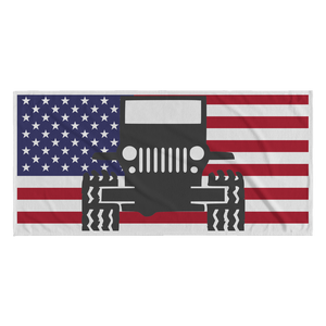 """Jeep USA Flag Background"" Beach Towel"
