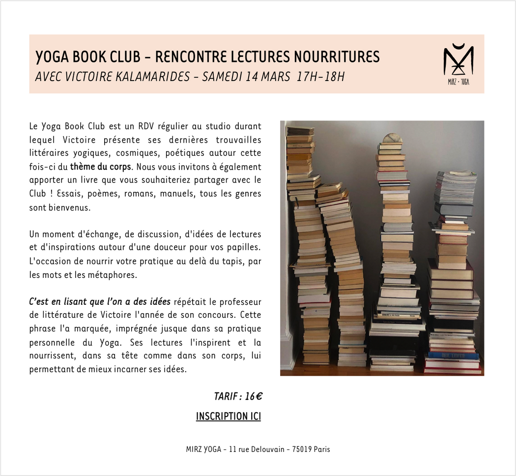 14/03/20 - YOGA BOOK CLUB - 16€ (acompte de 6€)