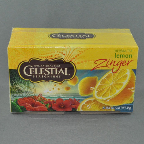 CELESTIAL LEMON ZINGER HERBAL TEA BAGS PK20