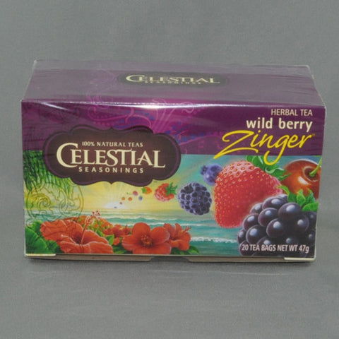 CELESTIAL WILD BERRY ZINGER HERBAL TEA BAGS PK20