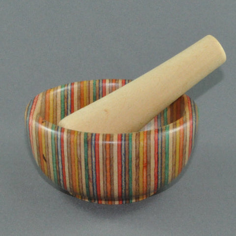 MORTAR AND PESTLE RAINBOW WOOD LAMINATE