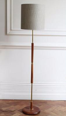1950's brass and wood standard lamp