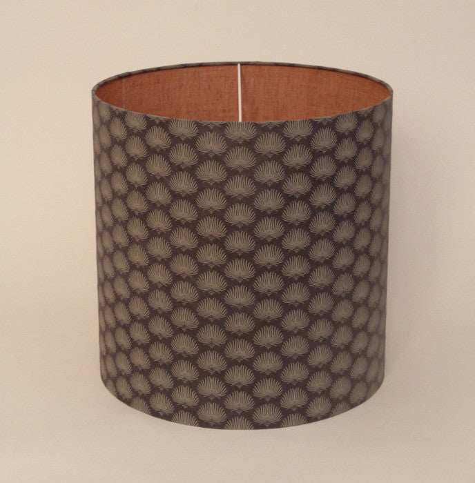 Drum shade in handmade paper with pink linen inside