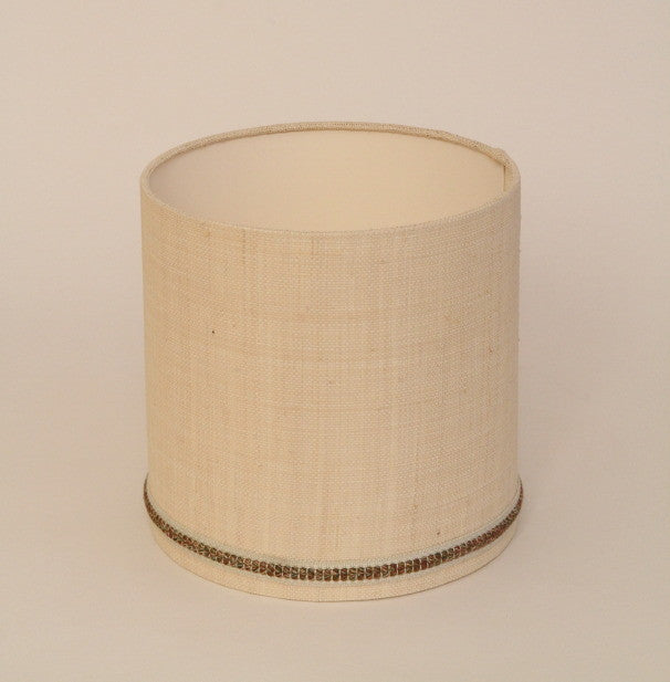 Hessian drum shade with braid trimming
