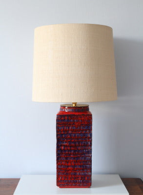 Large, striking blue and red ceramic lamp base