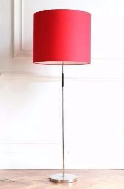 Chrome standard lamp with dramatic red shade
