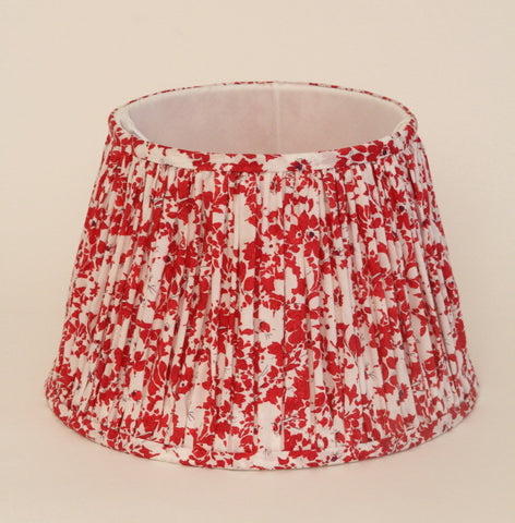 Red white gathered French drum lampshade