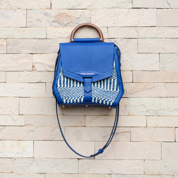 Maya Satchel Mahogany Electric Blue
