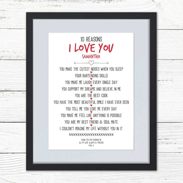 10 Reasons I Love You Personalised Print
