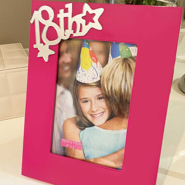 18th Birthday Photo Frame - Pink Funky Girl Talk