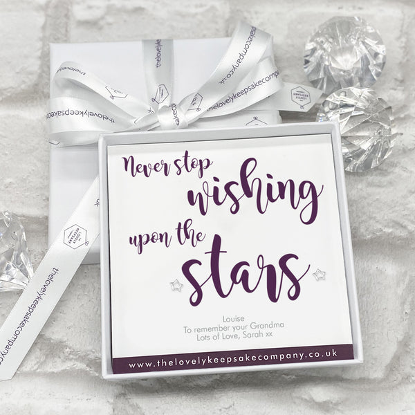 Sterling Silver Star Stud Earrings Personalised Gift Box - Various Thoughtful Messages