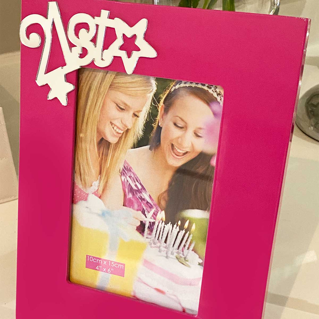 21st Birthday Photo Frame - Pink Funky Girl Talk