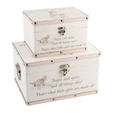 2 Keepsake Boxes, 'What are little girls made of?'