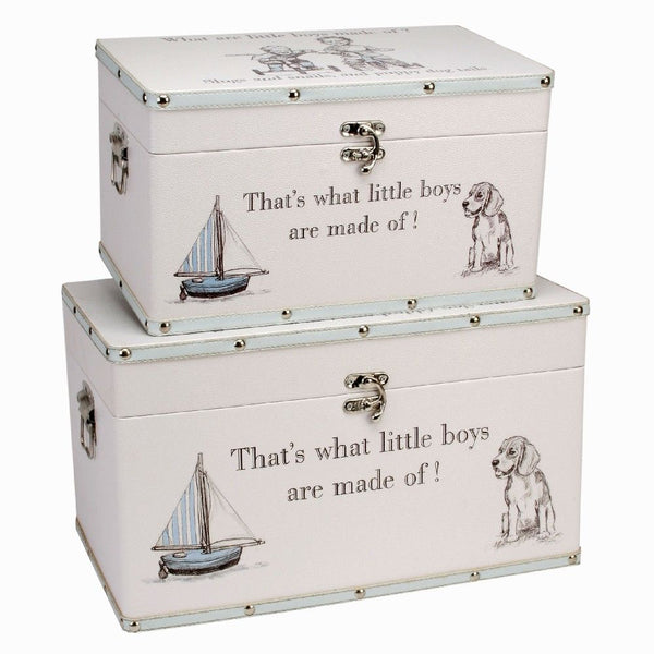 2 Large Keepsake Boxes, 'What are little boys made of?'