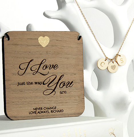 Personalised 'Just The Way You Are' Initials Necklace & Wooden Keepsake