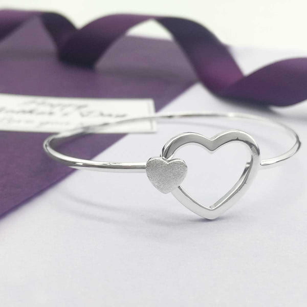 Sterling Silver Mum & Child Two Hearts Bangle - Happy Mother's Day