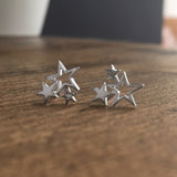 Sterling Silver Cluster of Stars Stud Earrings Personalised Gift Box - Thank You Teacher Messages