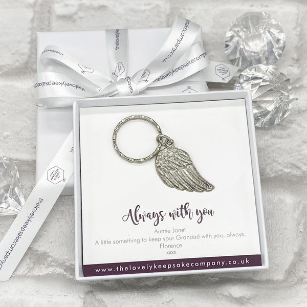 Always With You Wing Keying Personalised Gift Box - Various Thoughtful Messages