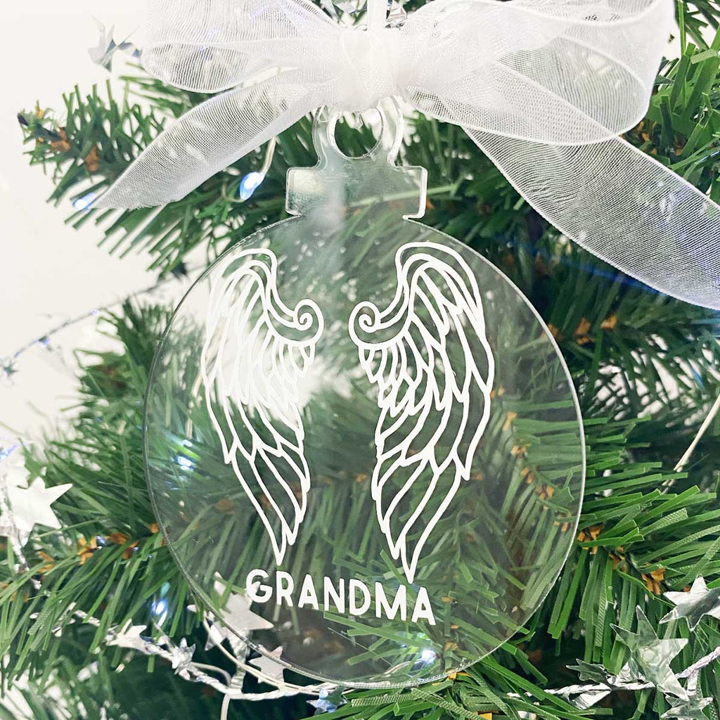 Personalised Acrylic Angel Wings Christmas Decoration