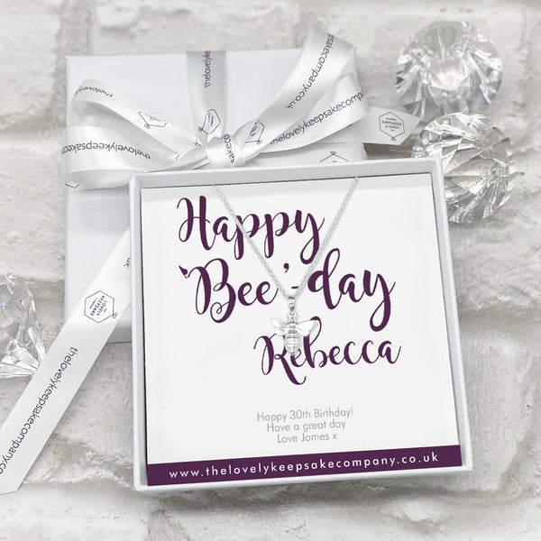 Sterling Silver Bee Necklace Personalised Gift Box - Various Thoughtful Messages
