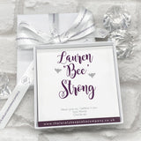 Sterling Silver Bee Earrings Personalised Gift Box - Various Thoughtful Messages