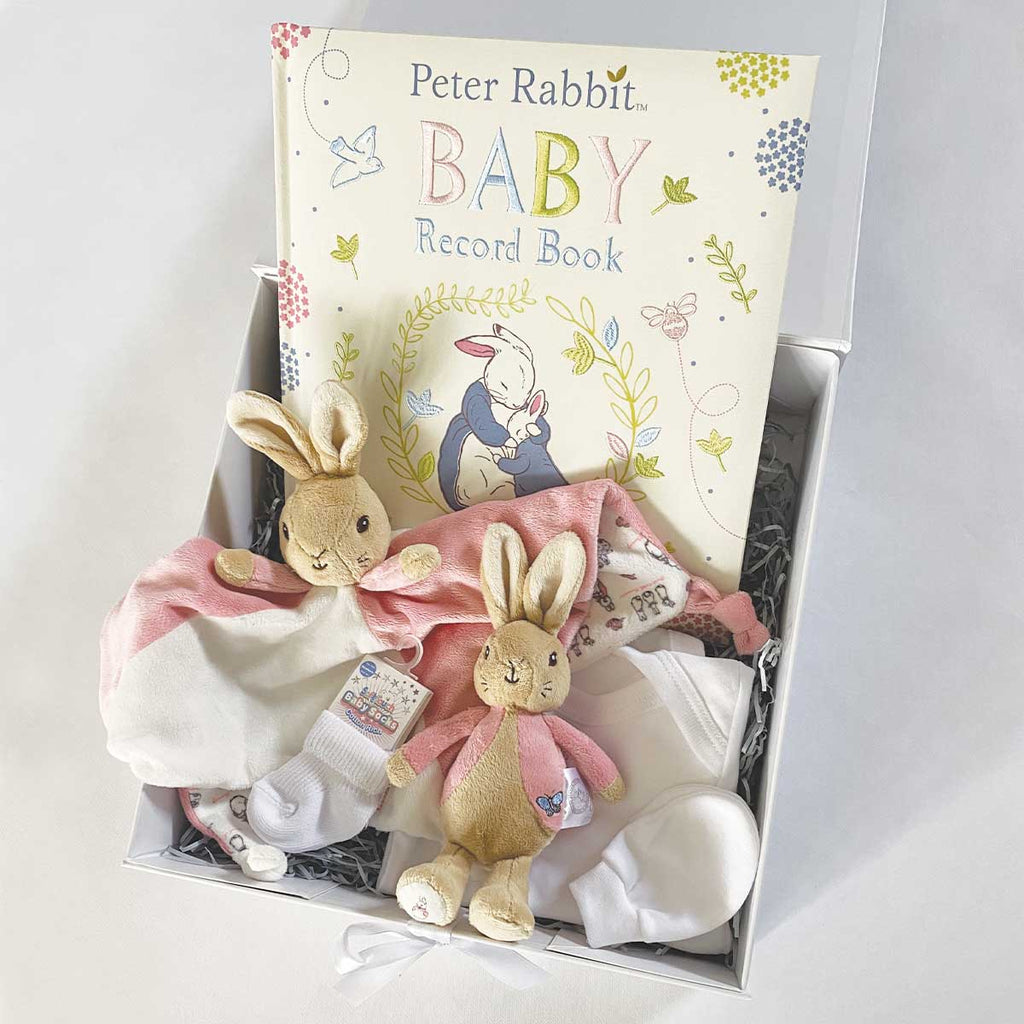 Personalised Classic Peter Rabbit™ Newborn Baby Gift Hamper - Flopsy