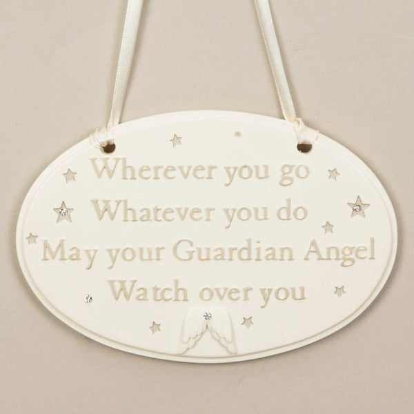 Guardian Angel Watching Over You Hanging Plaque