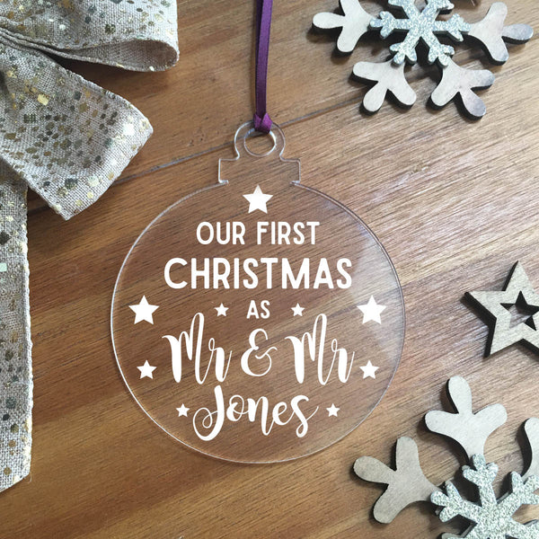 Personalised Couples Acrylic Hanging Decoration - Bauble