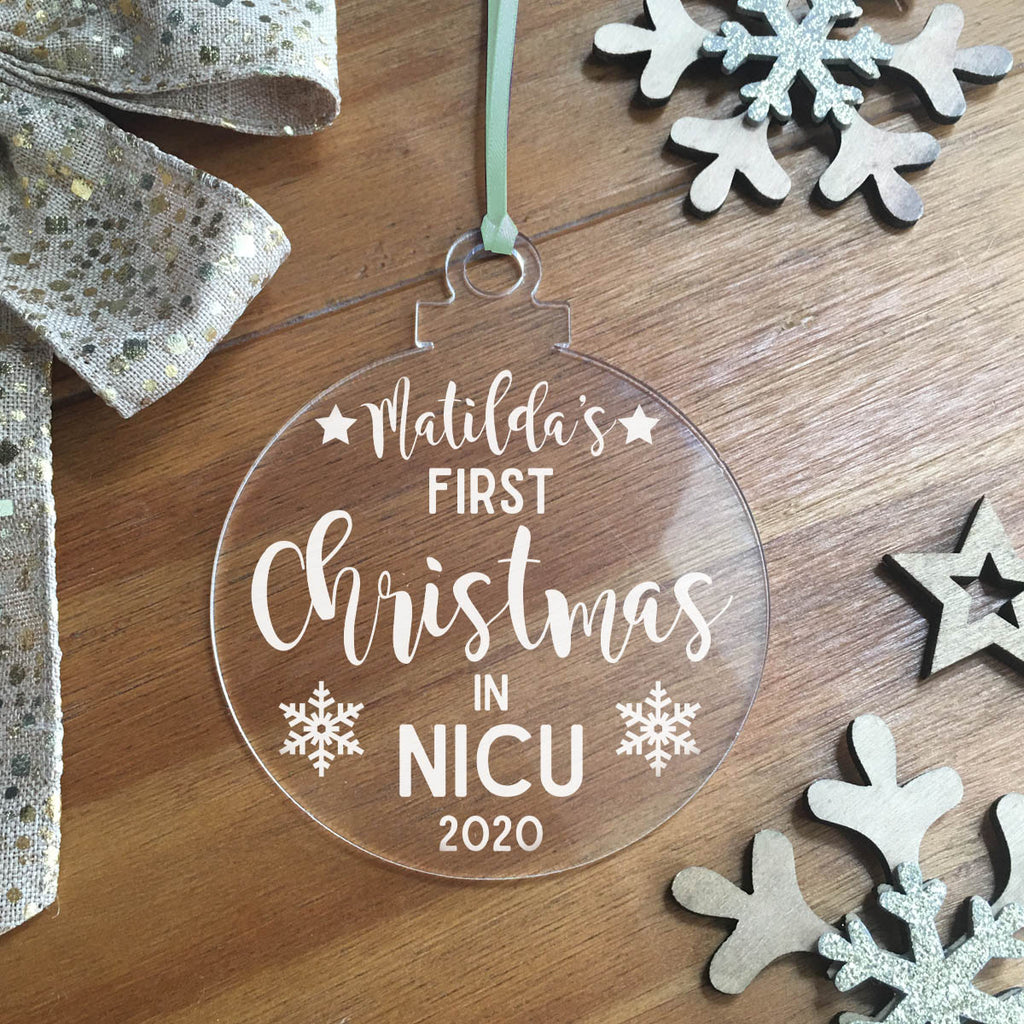 Personalised First Christmas In NICU Acrylic Hanging Decoration - Bauble
