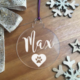 Personalised Pet Paw Print Acrylic Hanging Decoration - Bauble