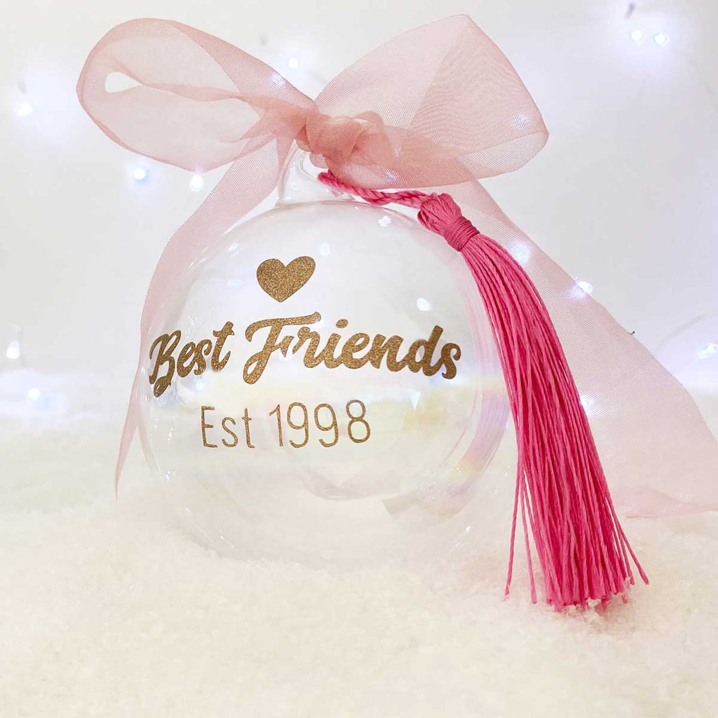Personalised 'Best Friends Established' Glass Christmas Bauble