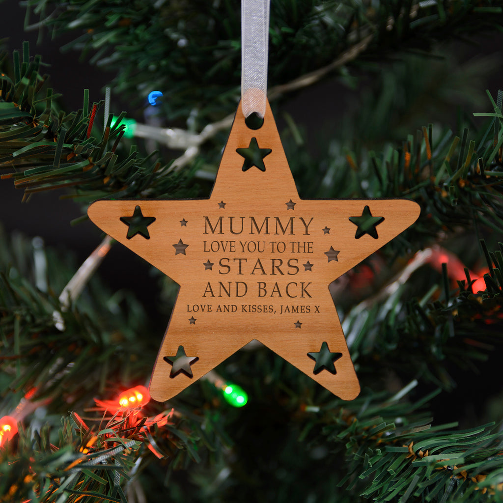 Personalised Wooden Hanging Decoration 'Mummy Love You To The Stars And Back'
