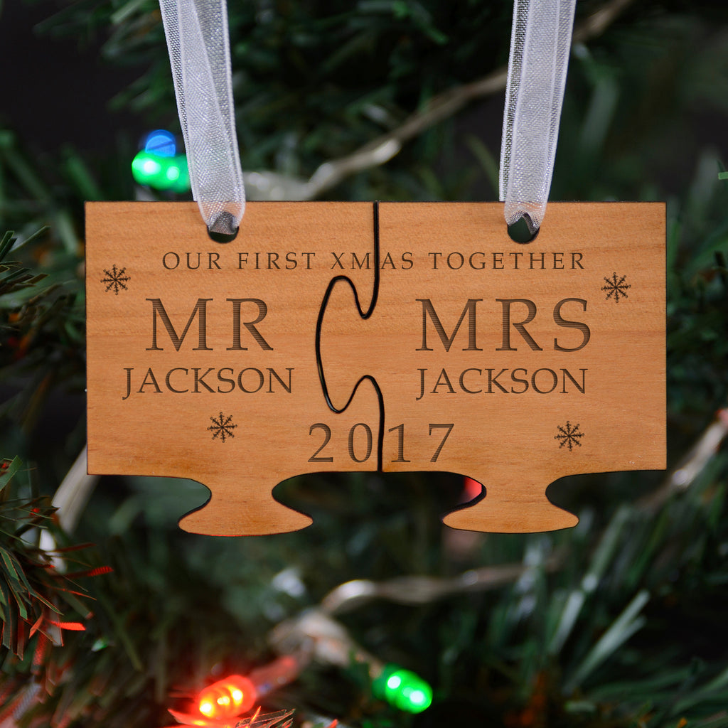 Personalised Wooden Our First Christmas Jigsaw Tree Decoration The Lovely Keepsake Company