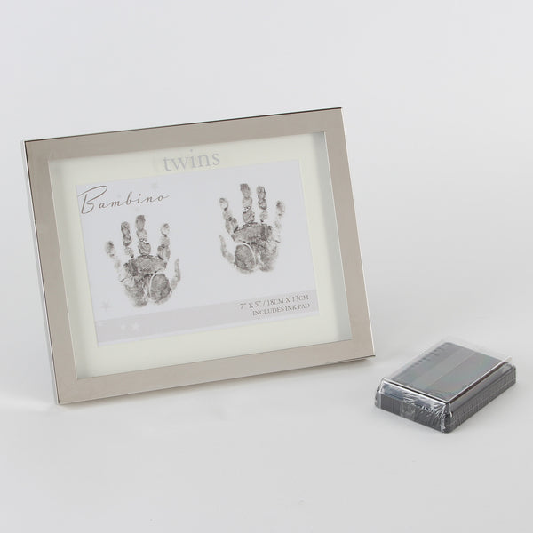 Silverplated Twins Handprints Frame by Bambino