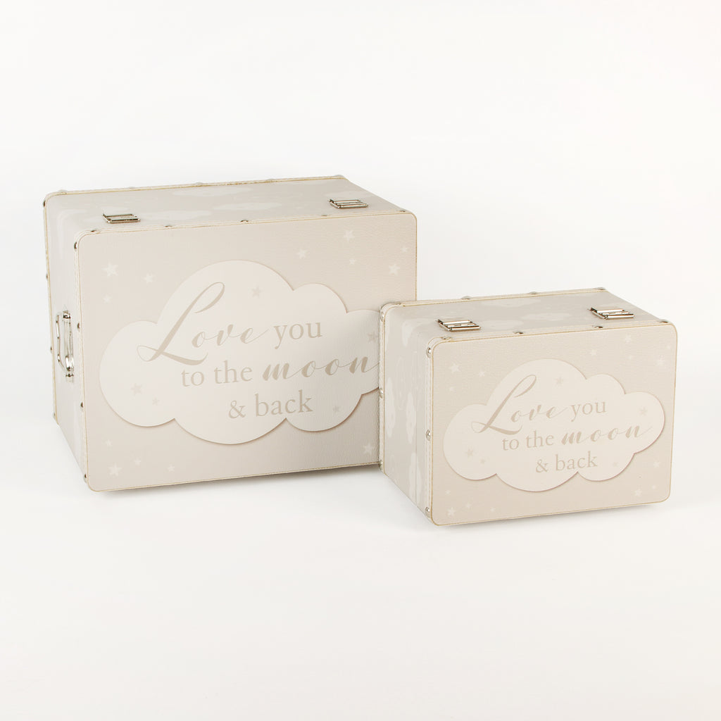 2 Keepsake boxes, Luggage style , 'Love you to the moon and back'