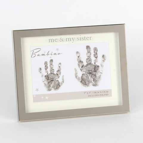 'Me & My Sister' Silverplated Handprint Frame