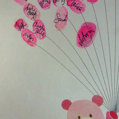 Fingerprint art, pink teddy holds fingerprint balloons