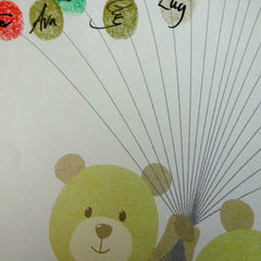 Fingerprint art, twin teddys holds fingerprint balloons