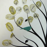 Fingerprint tree / fingerprint leaves, green birds