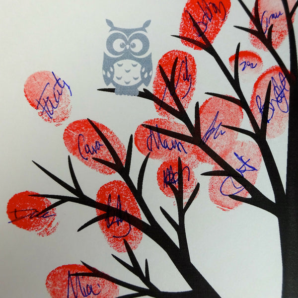Personalised Fingerprint Tree Grey Owls Tlksco